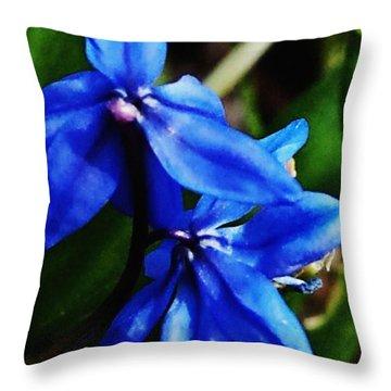 Blue Floral Throw Pillow by David Lane