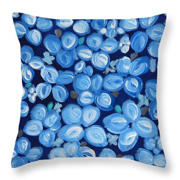 Blue Floral Frenzy Throw Pillow
