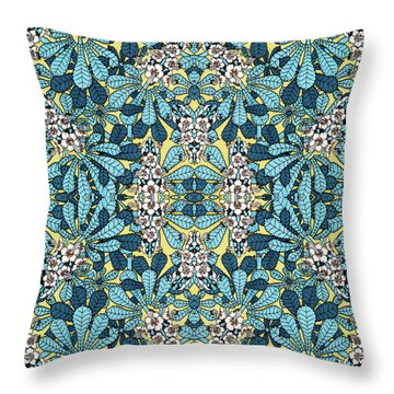 Blue Floral Leaf Pattern Throw Pillow