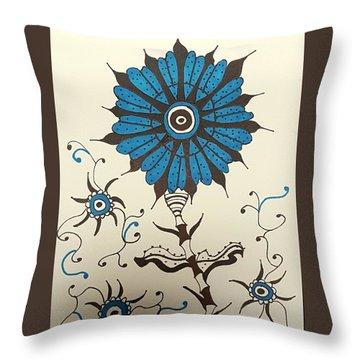Blue Flower 1 Throw Pillow