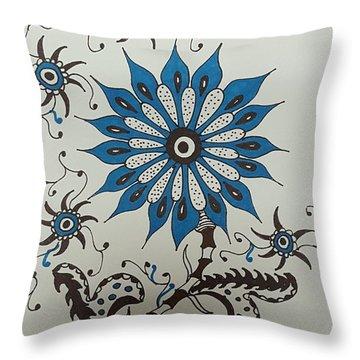 Blue Flower 3 Throw Pillow