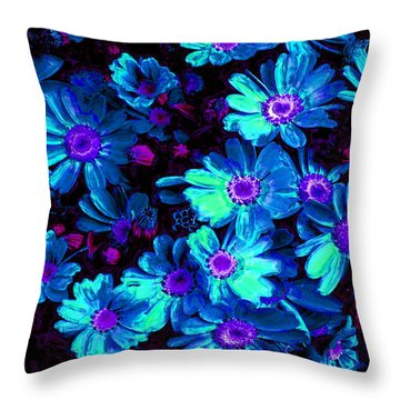 Blue Flower Arrangement Throw Pillow by Phill Petrovic
