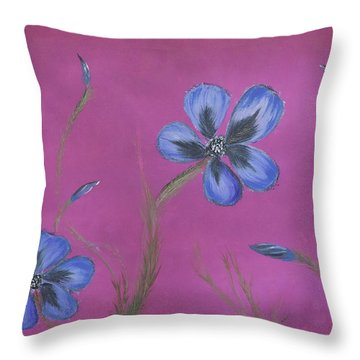 Blue Flower Magenta Background Throw Pillow