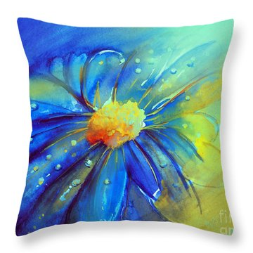 Blue Flower Offering Throw Pillow by Allison Ashton