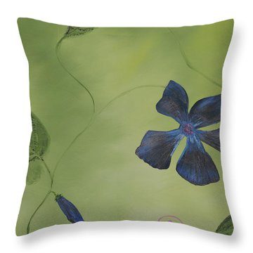 Blue Flower On A Vine Throw Pillow