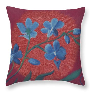 Blue Flower On Magenta Throw Pillow