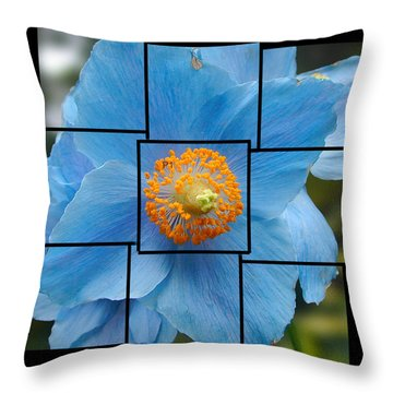 Blue Flower Photo Sculpture  Butchart Gardens  Victoria Bc Canada Throw Pillow
