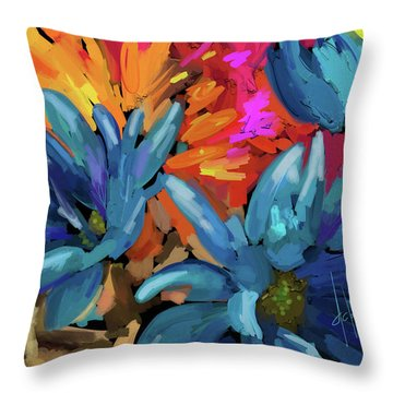 Throw Pillow featuring the painting Blue Flowers 2 by DC Langer