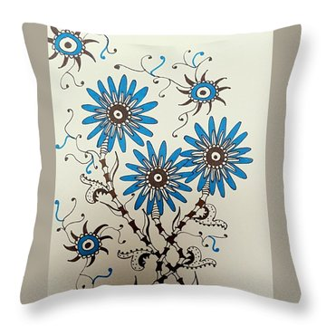 Blue Flowers 2 Throw Pillow