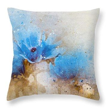 Blue Flowers 4a Throw Pillow