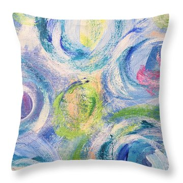 Throw Pillow featuring the painting Blue Flowers - Abstract Painting by Cristina Stefan