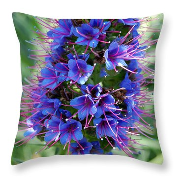Blue Flowers Throw Pillow by Amy Fose