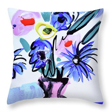 Blue Flowers And Coffee Cup Throw Pillow by Amara Dacer