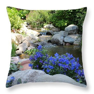 Blue Flowers And Stream Throw Pillow by Corey Ford