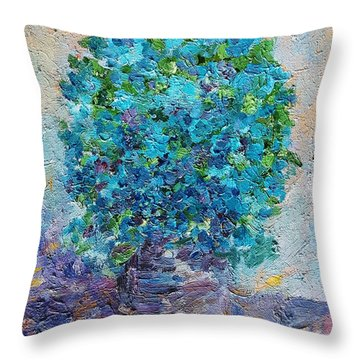 Blue Flowers In A Vase Throw Pillow