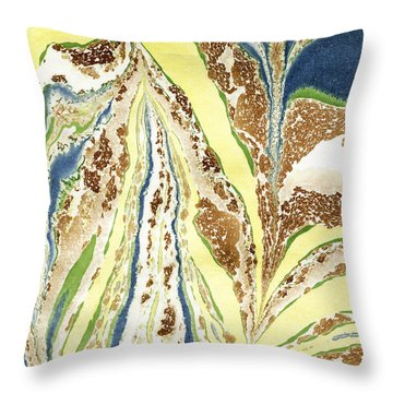 Throw Pillow featuring the painting Blue Flowers In Spring by Menega Sabidussi