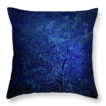 Blue Flowers Throw Pillow