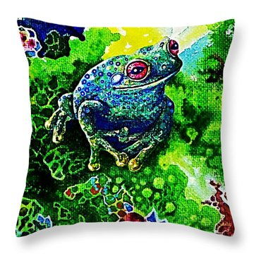 Blue  Frog Throw Pillow