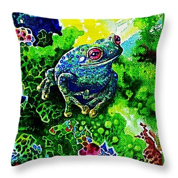 Blue  Frog Throw Pillow by Hartmut Jager