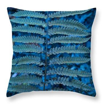 Blue Frond Throw Pillow by Douglas Barnett