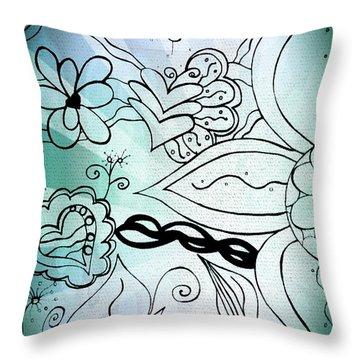 Blue Funky Flower Doodles Throw Pillow