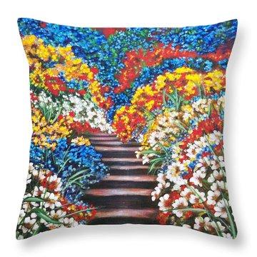 Chloe The   Flying Lamb Productions        Blue Garden Cascade Throw Pillow