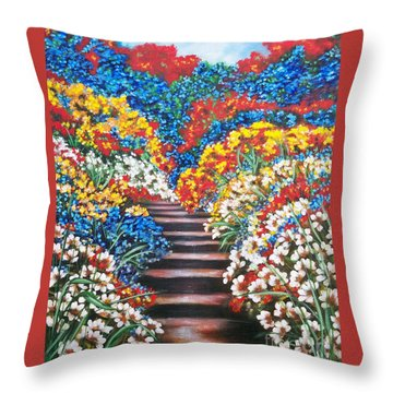Chloe The   Flying Lamb Productions        Blue Garden Cascade Throw Pillow