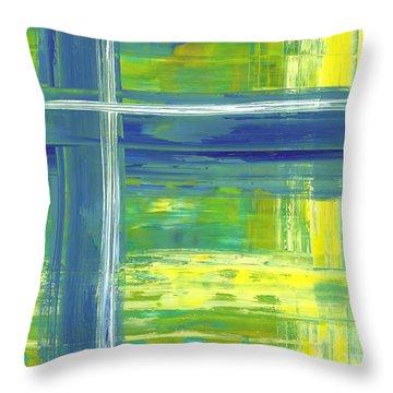 Blue Geometric Yellow Throw Pillow