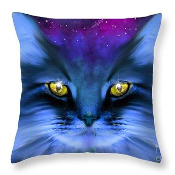 Blue Ghost Cat Throw Pillow