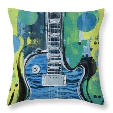 Blue Gibson Guitar Throw Pillow