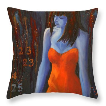 Blue Girl In Red Dress Throw Pillow by Lynn Chatman