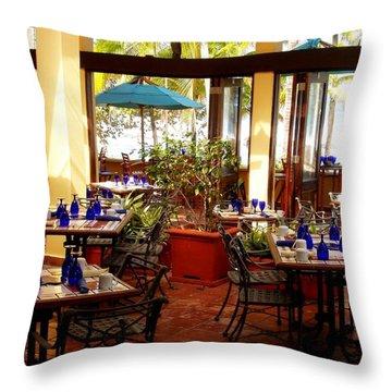 Blue Glass Settings Throw Pillow