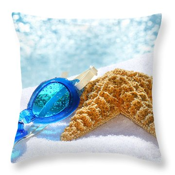 Blue Goggles On A White Towel  Throw Pillow by Sandra Cunningham