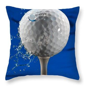 Blue Golf Ball Splash Throw Pillow by Steve Gadomski