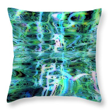 Blue Green Abstract 091015 Throw Pillow