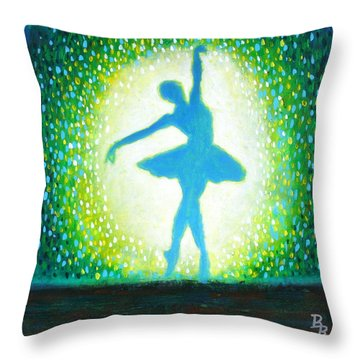 Throw Pillow featuring the painting Blue-green Ballerina by Bob Baker
