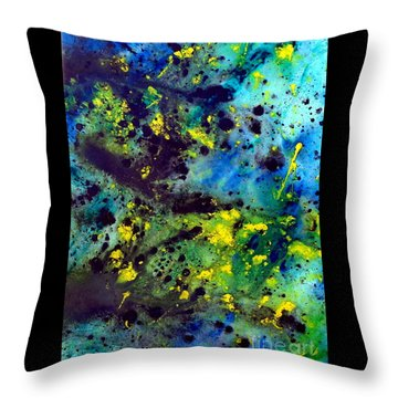 Blue Green Chaos Throw Pillow