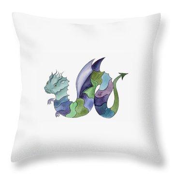 Blue Green Dragon Throw Pillow