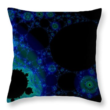 Blue Green Galaxy Fractal Throw Pillow