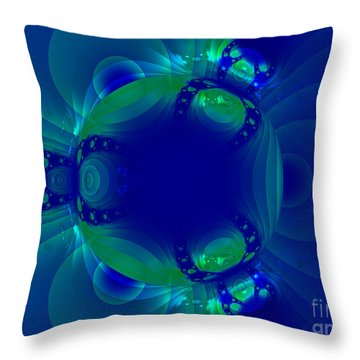 Blue Green Globe Luminant Fractal Throw Pillow