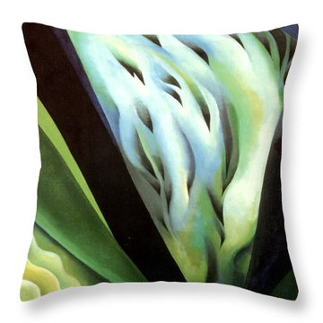 Blue Green Music Throw Pillow by Georgia OKeefe