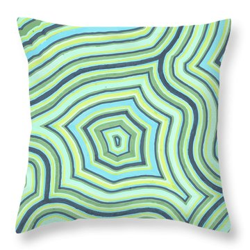 Blue Green Pattern Play Throw Pillow