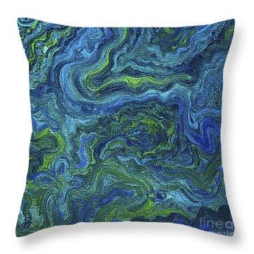Blue Green Texture Throw Pillow