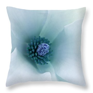 Abstract Blue Green White Flowers Macro Photography Art Work Throw Pillow