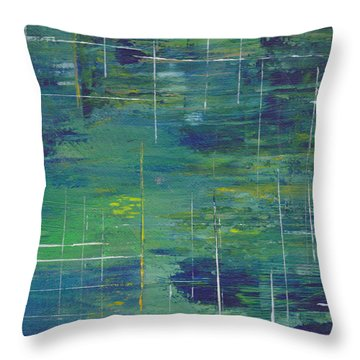 Blue Green Yellow Abstract  Throw Pillow by Patricia Cleasby