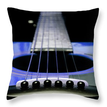 Blue Guitar 14 Throw Pillow by Andee Design