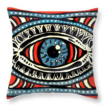 Throw Pillow featuring the painting Blue Gypsi Eye by Nada Meeks