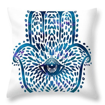 Blue Hamsa Hand Throw Pillow
