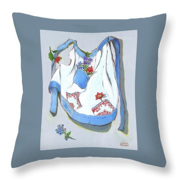 Throw Pillow featuring the painting Blue Handkerchief Apron by Susan Thomas