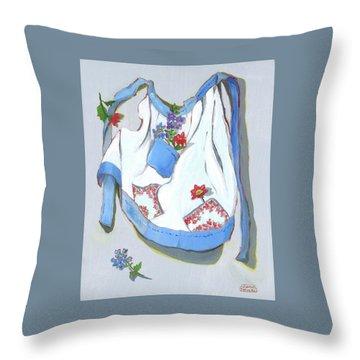 Blue Handkerchief Apron Throw Pillow by Susan Thomas